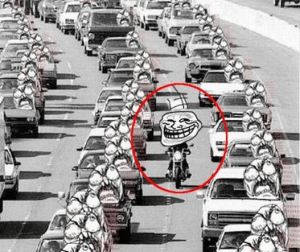 Filtering through traffic on a motorbike: